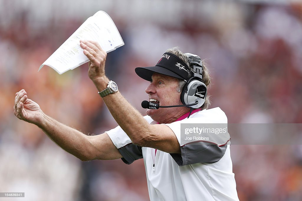 South Carolina Gamecocks head coach Steve Spurrier tries to call a timeout against the Tennessee Volunteers during the game at Williams-Brice Stadium on October 27, 2012 in Columbia, South Carolina. South Carolina won 38-35.
