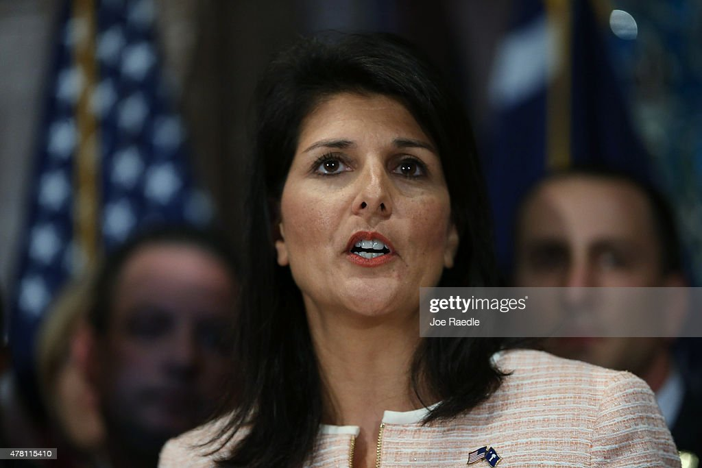 South Carolina Gov Nikki Haley speaks to the media as she asks that the Confederate flag be removed from the state capitol grounds on June 22 2015 in...