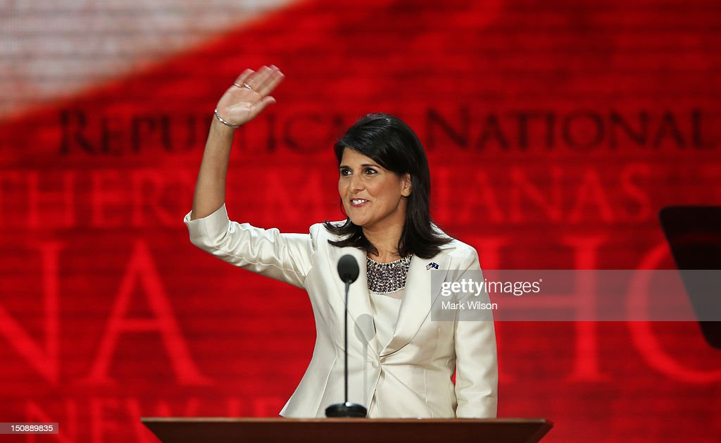 South Carolina Gov Nikki Haley waves on stage during the Republican National Convention at the Tampa Bay Times Forum on August 28 2012 in Tampa...