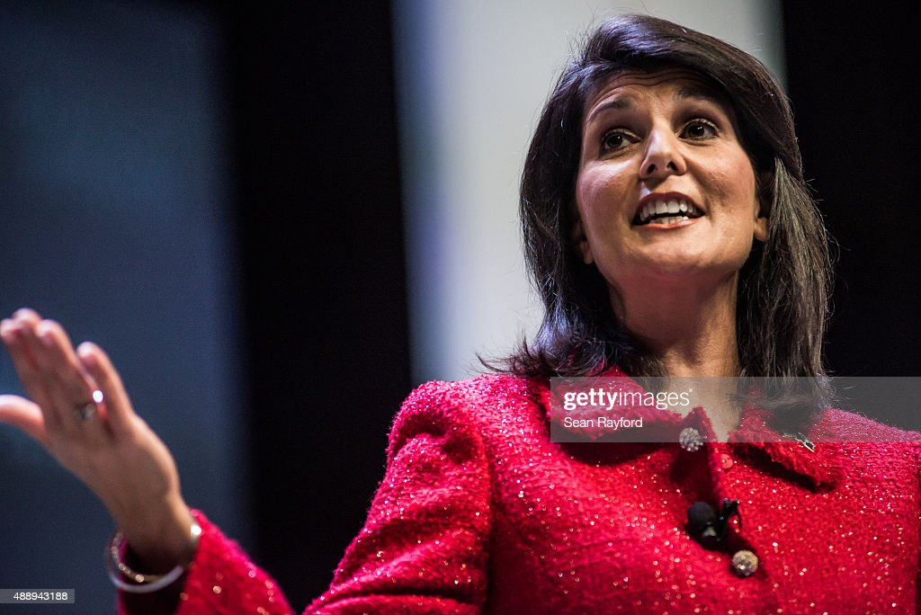 South Carolina Governor and moderator of the Heritage Action Presidential Candidate Forum <a gi-track='captionPersonalityLinkClicked' href=/galleries/search?phrase=Nikki+Haley+-+Governor&family=editorial&specificpeople=6974701 ng-click='$event.stopPropagation()'>Nikki Haley</a> speaks to the crowd September 18, 2015 in Greenville, South Carolina. Eleven republican candidates each had twenty five minutes to talk to voters Friday at the Bons Secours Wellness arena in the upstate of South Carolina.
