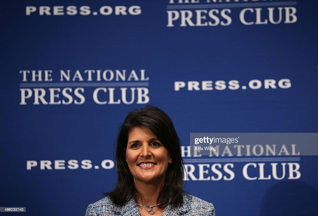 South Carolina Governor <a gi-track='captionPersonalityLinkClicked' href=/galleries/search?phrase=Nikki+Haley+-+Governatore&family=editorial&specificpeople=6974701 ng-click='$event.stopPropagation()'>Nikki Haley</a> addresses a Newsmaker Luncheon at the National Press Club September 2, 2015 in Washington, DC. Governor Haley spoke on 'Lessons from the New South.'