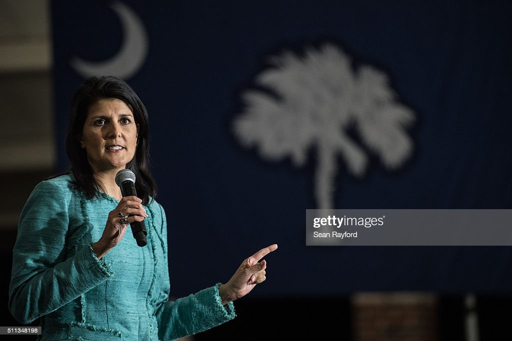 South Carolina Governor Nikki Haley addresses the crowd during a campaign rally for Republican presidential candidate Marco Rubio at Clemson...