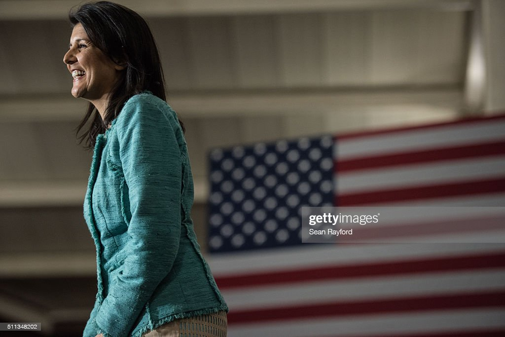 South Carolina Governor <a gi-track='captionPersonalityLinkClicked' href=/galleries/search?phrase=Nikki+Haley+-+Governor&family=editorial&specificpeople=6974701 ng-click='$event.stopPropagation()'>Nikki Haley</a> addresses the crowd during a campaign rally for Republican presidential candidate Marco Rubio at Clemson University Friday, February 19, 2016 in Clemson, South Carolina. The South Carolina Republican primary will be held Saturday, February 20.