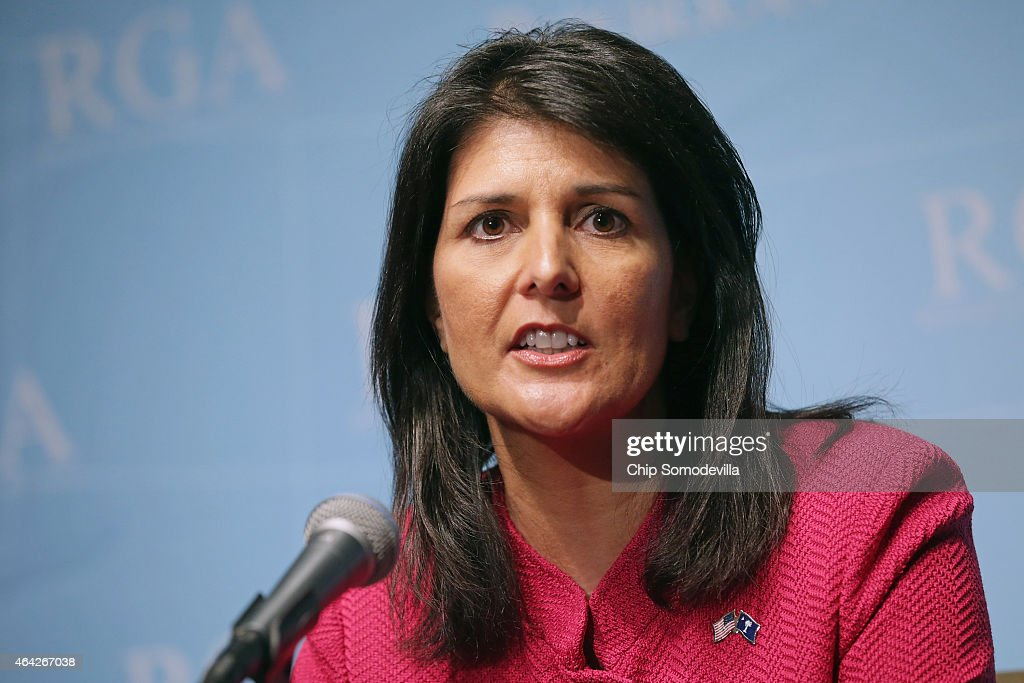 South Carolina Governor Nikki Haley holds a news conference with fellow members of the Republican Governors Association at the US Chamber of Commerce...