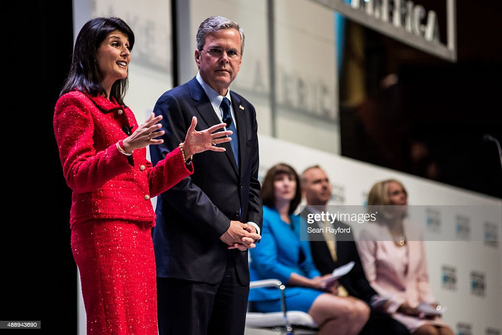 South Carolina Governor Nikki Haley talks about education with Former Florida Governor and republican presidential candidate Jeb Bush at the Heritage...
