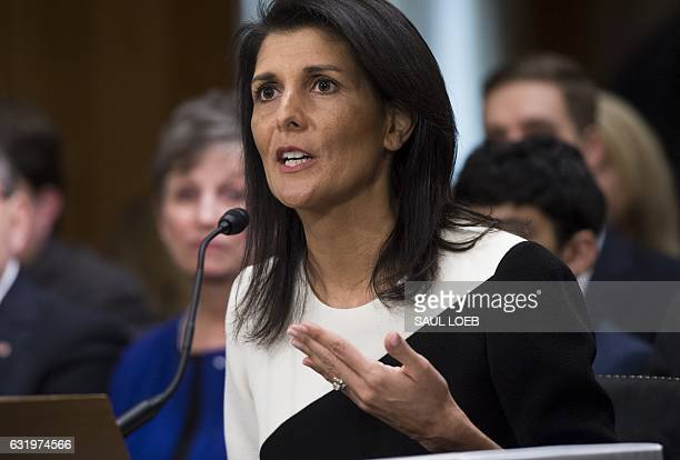 South Carolina Governor Nikki Haley testifies during her confirmation hearing for US Ambassador to the United Nations before the Senate Foreign...