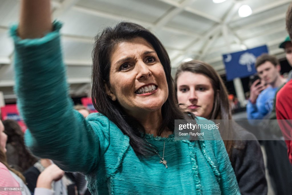 South Carolina Governor Nikki Haley waves to the crowd at the conclusion of a campaign rally for Republican presidential candidate Marco Rubio at...