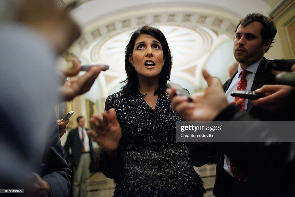 South Carolina Governorelect Kikki Haley talks to reporters after meeting with House Minority Leader John Boehner and Senate Minority Leader Mitch...