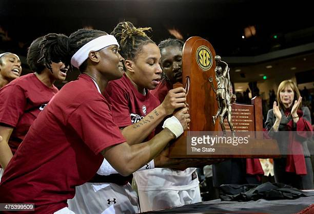 South Carolina players hoist the SEC trophy after defeating Georgia 6756 at the Colonial Life Arena in Columbia SC on Thursday Feb 27 2014