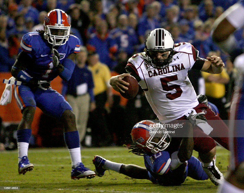 South Carolina quarterback Stephen Garcia (5) rushes into the end zone for a touchdown in the fourth quarter of the Gamecocks' 36-14 victory over the Florida Gators at Ben Hill Griffin Stadium in Gainesville, Florida, Saturday, November 13, 2010.