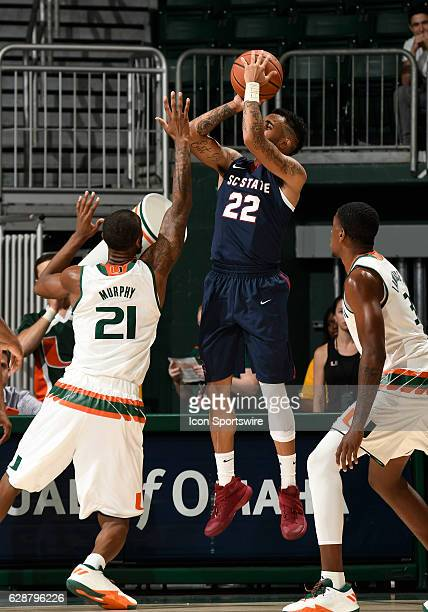 South Carolina State guard Eric Eaves shoots during an NCAA basketball game between the South Carolina State Bulldogs and the University of Miami...