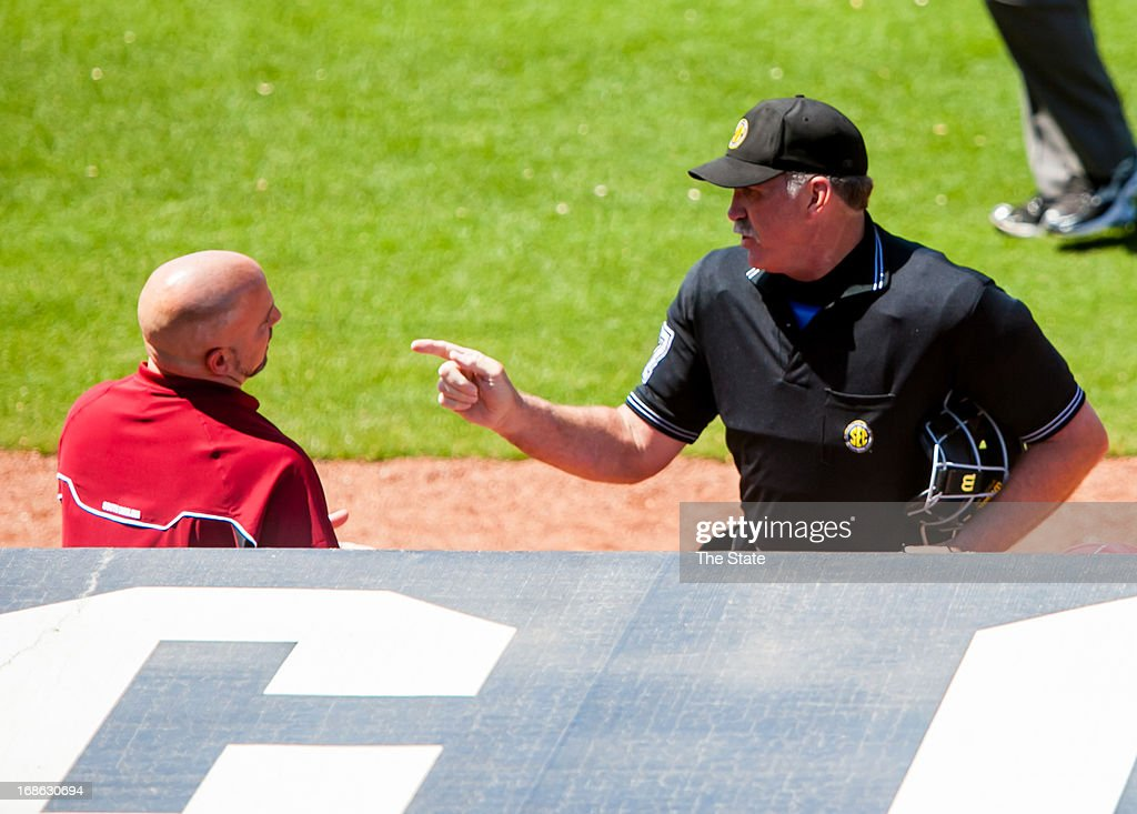 South Carolina strength and conditioning coach Billy Anderson is ejected from the game following an altercation between the Gamecocks and the Georgia Bulldogs in the fourth inning in Columbia, South Carolina, Sunday, May 13, 2013.