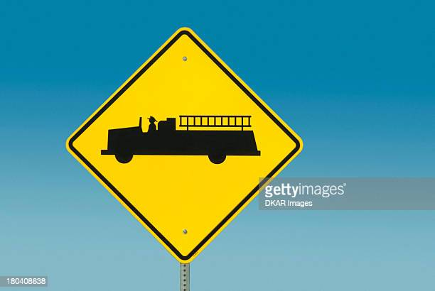 USA, South Carolina, Yellow road sign depicting fire truck