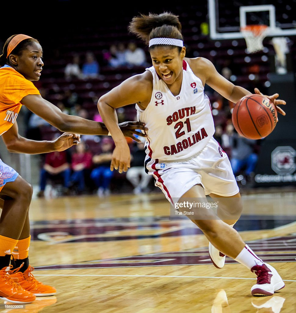 South Carolina's Ashley Bruner (21) drives against Tennessee's Jasmine Jones in the first half at Colonial Life Arena in Columbia, South Carolina, on Thursday, January 3, 2013.