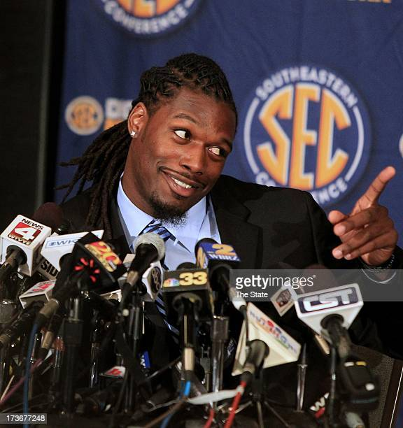 South Carolina's Jadeveon Clowney is interviewed during SEC football media days in Hoover Alabama Tuesday July 16 2013