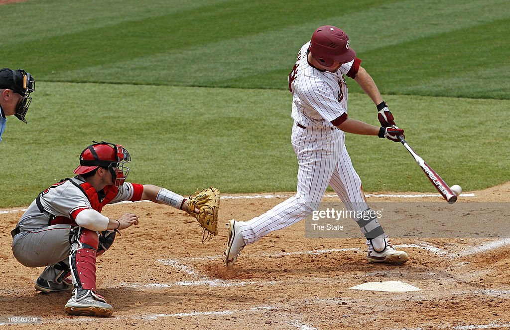 South Carolina's Joey Pankake connects for a base hit against Georgia at Carolina Stadium in Columbia, South Carolina, on Saturday, May 11, 2013. The host Gamecocks won, 7-1.