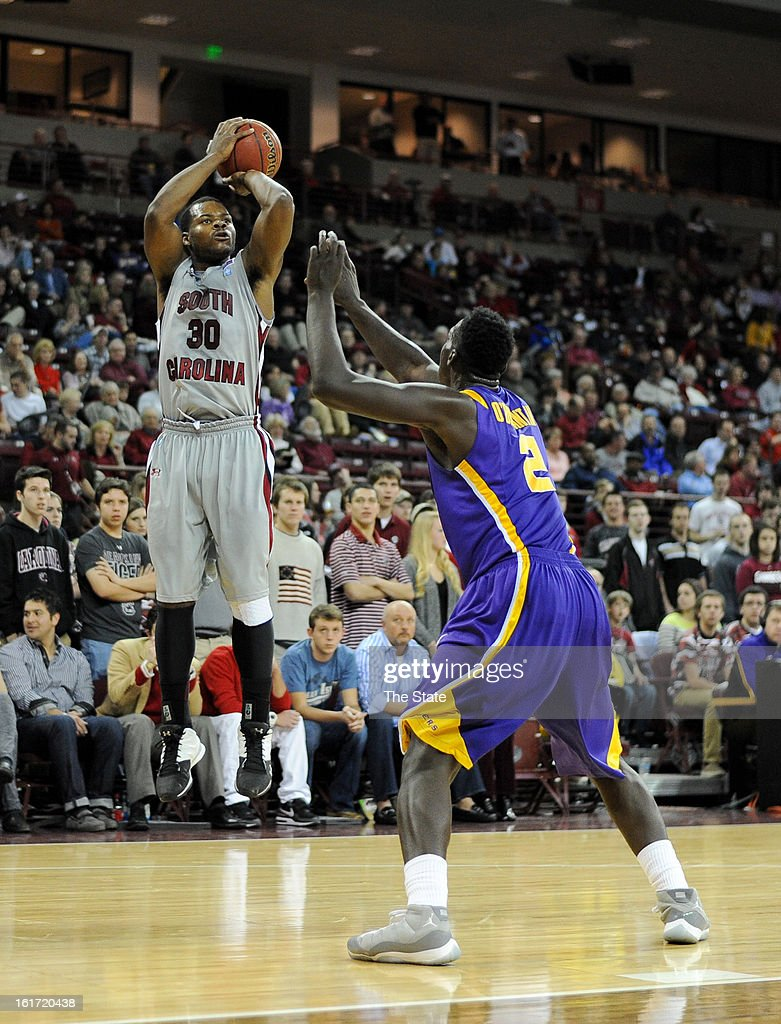 South Carolina's Lackeem Jackson hits a jump shot in the first half against Louisiana State at Colonial Life Arena in Columbia, South Carolina, on Thursday, February 14, 2013. LSU pulled away for a 64-46 win.