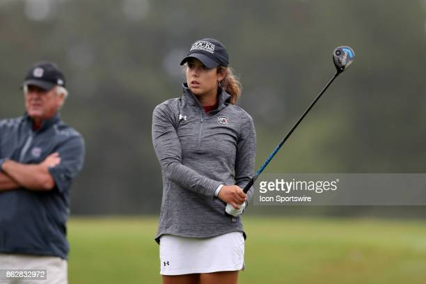 South Carolina's Marion Veysseyre on the 12th tee during the first round of the Ruth's Chris Tar Heel Invitational Women's Golf Tournament on October...