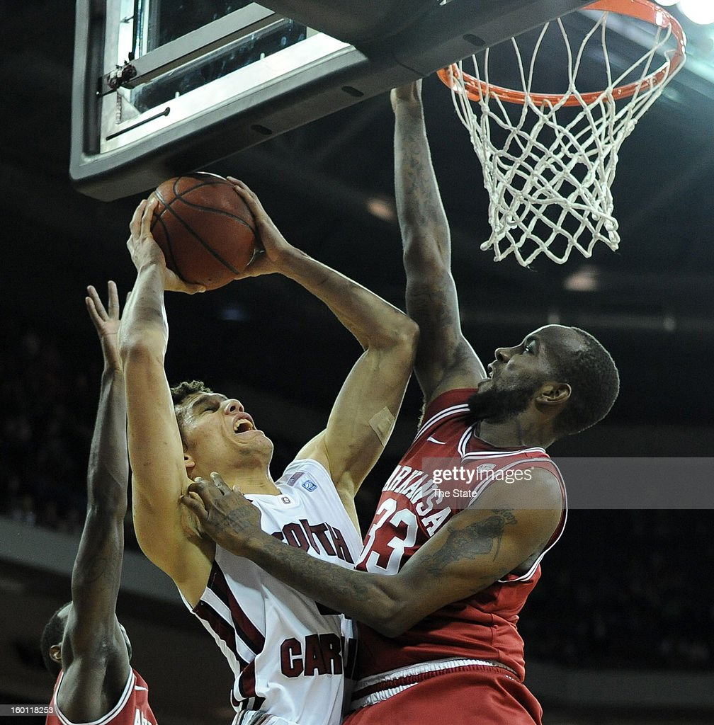South Carolina's Michael Carrera goes up for a basket in the second half against Arkansas at Colonial Life Arena in Columbia, South Carolina, on Saturday, January 26, 2013. South Carolina won, 75-54.