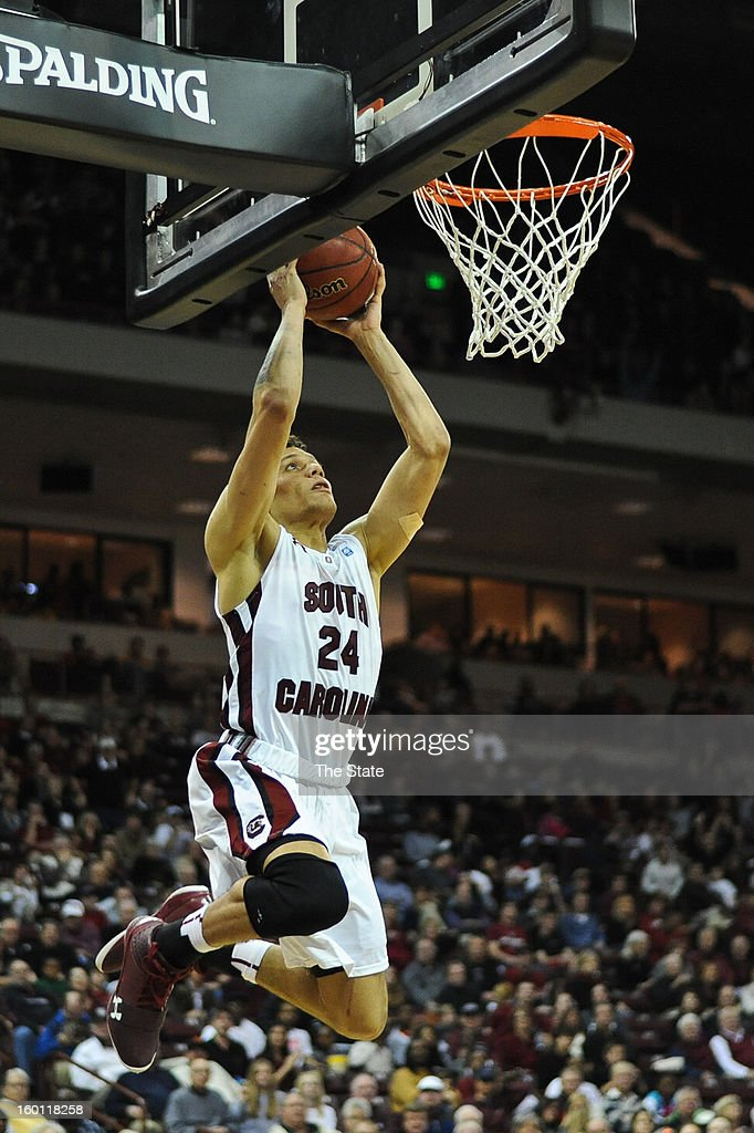 South Carolina's Michael Carrera goes up for a dunk in the second half against Arkansas at Colonial Life Arena in Columbia, South Carolina, on Saturday, January 26, 2013. South Carolina won, 75-54.
