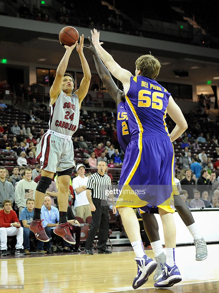South Carolina's Michael Carrera hits a jump shot in the first half against Louisiana State at Colonial Life Arena in Columbia, South Carolina, on Thursday, February 14, 2013. LSU pulled away for a 64-46 win.