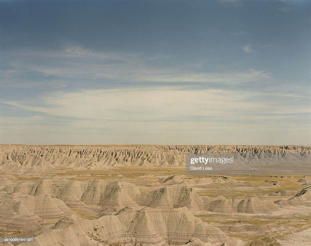 USA, South Dakota, Badlands National Park, Rock formation : Stock Photo