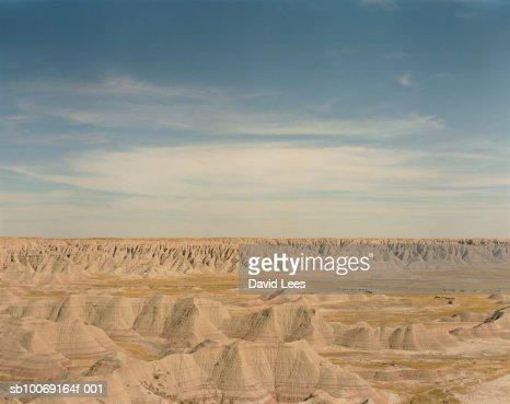 USA, South Dakota, Badlands National Park, Rock formation : Stock-Foto