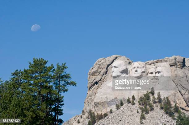 South Dakota Black Hills Mount Rushmore National Monument with day moon