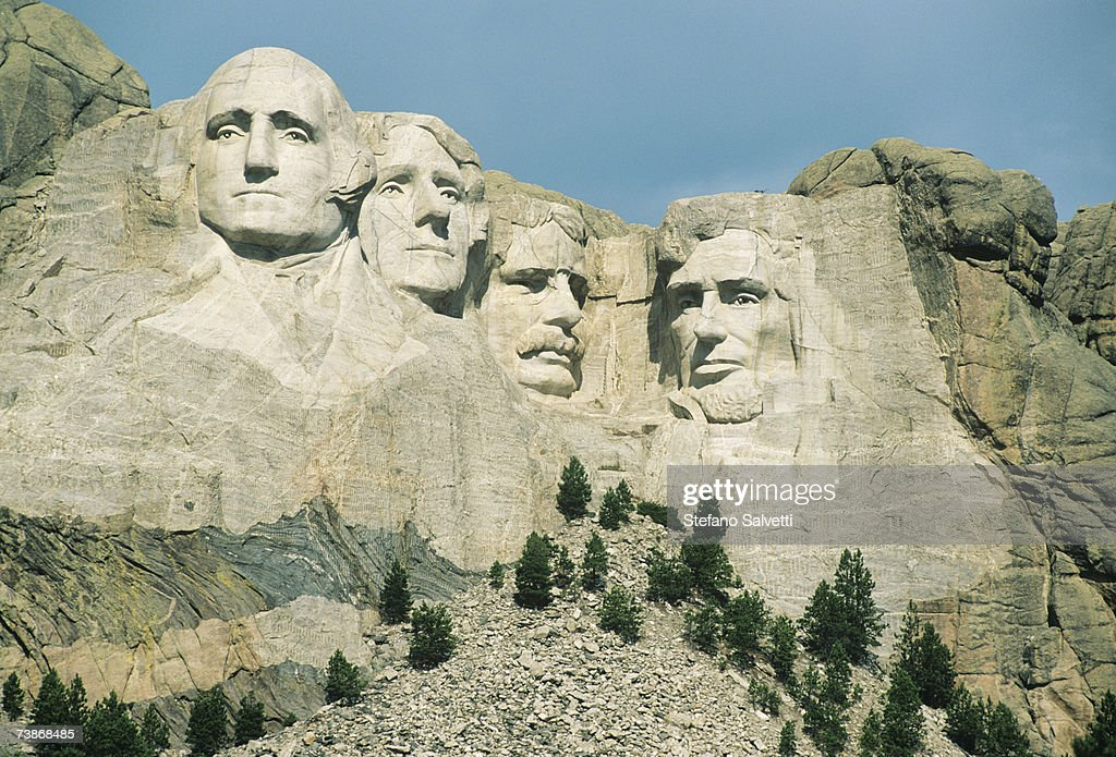 USA, South Dakota, Black Hills, Mt. Rushmore National Monument, close-up : Stock Photo