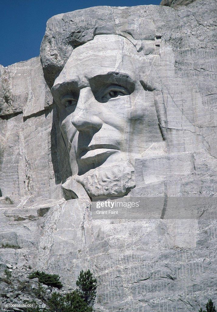 USA, South Dakota, Mount Rushmore, Abraham Lincoln detail : Stock Photo