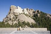 USA, South Dakota, tourists watching Mount Rushmore National Memorial, close-up