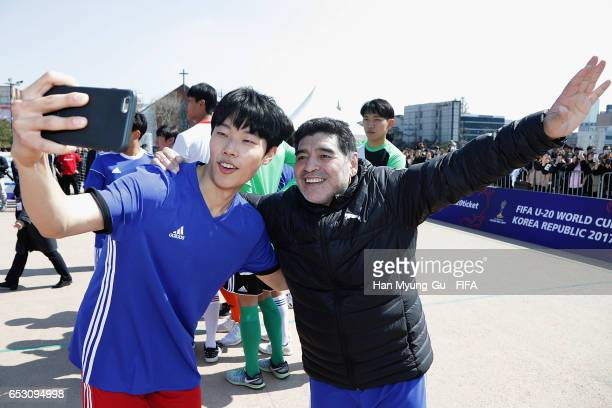 South Diego Armando Maradona and Korean actor Ryu JunYeol take a selfie the mini 5aside football match prior to Draw Of FIFA U20 World Cup Korea...