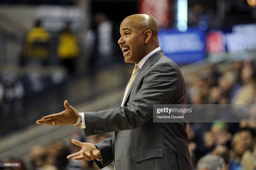 South Florida Bulls head coach Stan Heath tries to get a call to go his way during the first half against Connecticut Huskies at Gampel Pavilion, Sunday, February 3, 2013, in Storrs, Connecticut. UConn won 69-64 in overtime.