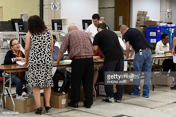 South Florida voters registrar at an early voting polling centre in Miami Florida on November 3 2016 / AFP / RHONA WISE