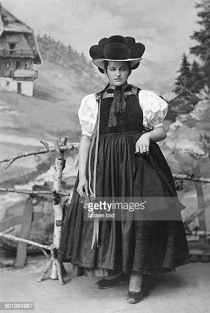 woman from the Gutach Valley in traditional costume wearing a socalled 'Bollenhut' around 1910