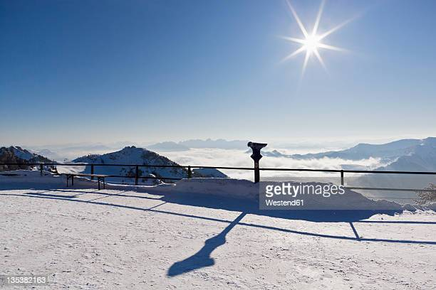 South Germany, Upper Bavaria, View of observation point with binocular from Wendelstein mountain