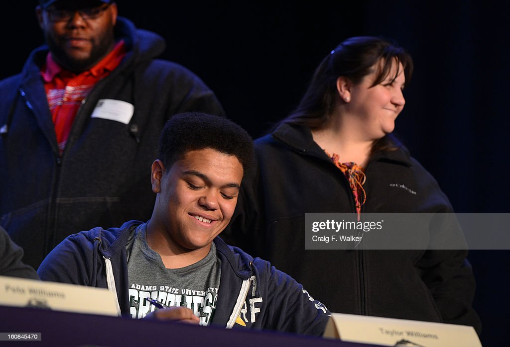 South High School football player Taylor Williams signed with Adams State University during a ceremony in Denver, CO February 06, 2013.