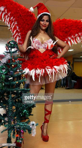South Indian actress Tanisha Singh poses during a photo shoot ahead of the festive season in Mumbai on December 23 2013 AFP PHOTO/STR