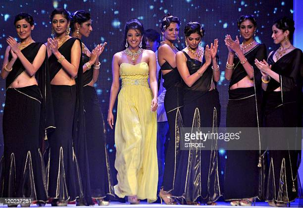 South Indian Bollywood actress Kajal Aggarwal walks the ramp for CVM Jewels during the 2nd edition of the Indian International Jewellery Week...