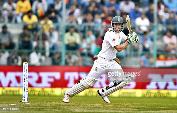 South Indian cricket team player AB de Villiers bats during the 2nd Test match between India and South Africa at M Chinnaswamy Stadium on November 14...