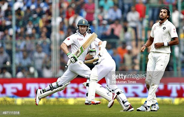 South Indian cricket team player AB de Villiers taking a short run during the 2nd Test match between India and South Africa at M Chinnaswamy Stadium...