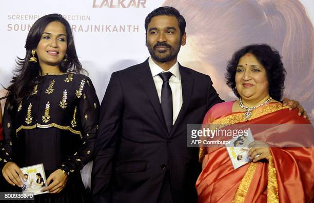 South Indian film director Soundarya Rajnikanth actor Dhanush and film producer and playback singer Latha Rajinikanth attend the trailer and music...