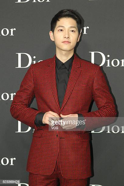 South Korea actor and host Song Joong Ki attends the Dior Homme Fashion Show Menswear Collection Winter 201617 on April 22 2016 in Hong Kong China