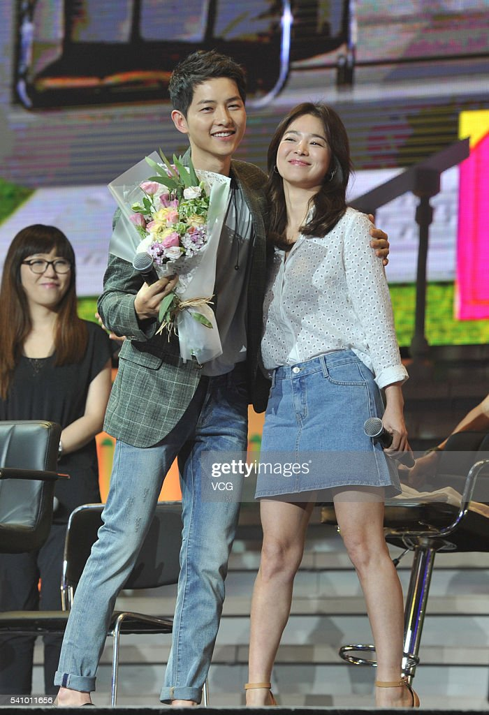 South Korea actress Song Hye Kyo and actor Song Joongki attend fan meeting on June 17 2016 in Chengdu Sichuan Province of China