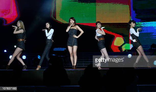 South Korea band Wonder Girls perform on stage during Jiangsu TV new year concert on December 31 2010 in Nanjing Jiangsu Province of China