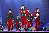 South Korea boy band Super Junior perform onstage during Super Junior Super Show 6 World Tour in Hong Kong 2014 at AsiaWorldExpo on November 8 2014...