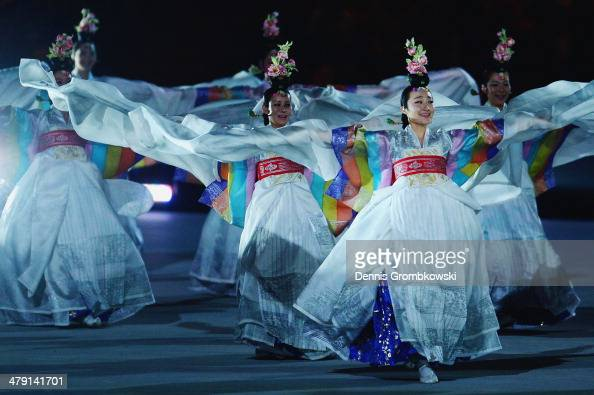 South Korea dancers perform during the Sochi 2014 Paralympic Winter Games Closing Ceremony at Fisht Olympic Stadium on March 16 2014 in Sochi Russia