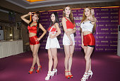 South Korea girls band Love Cubic attends a beauty parlour commercial activity on July 22 2016 in Hangzhou Zhejiang Province of China