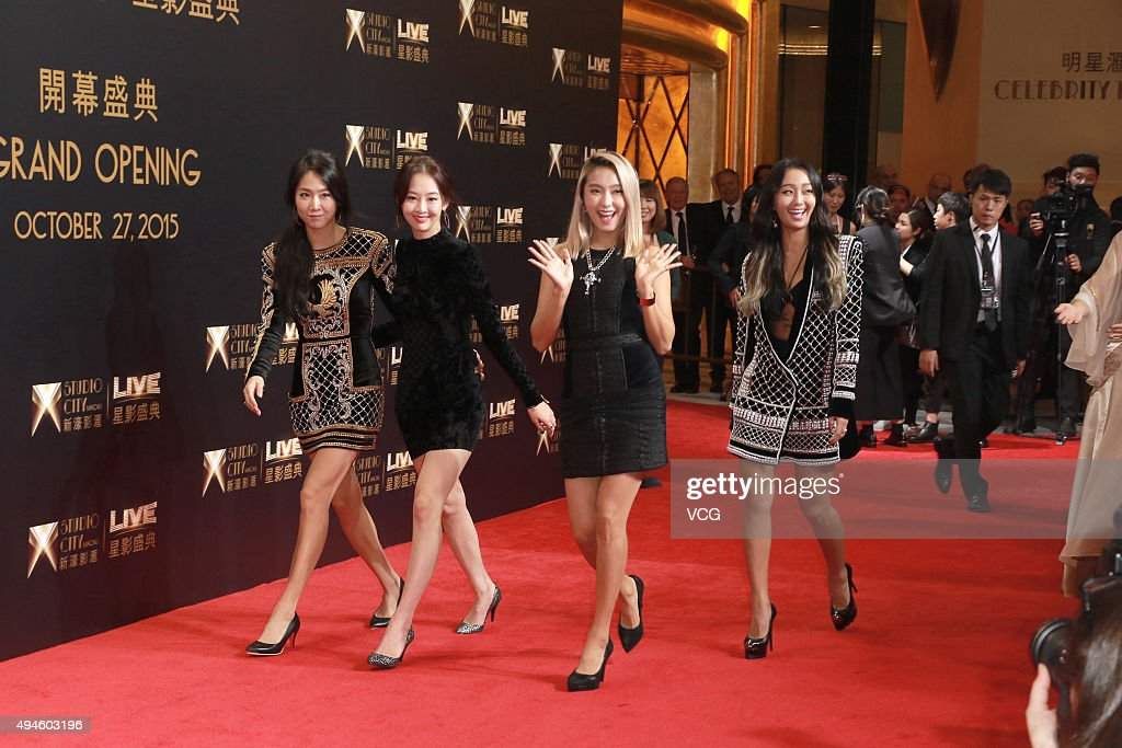 South Korea girls band Sistar attend an opening ceremony of Studio City Macau on October 27 2015 in Macau China