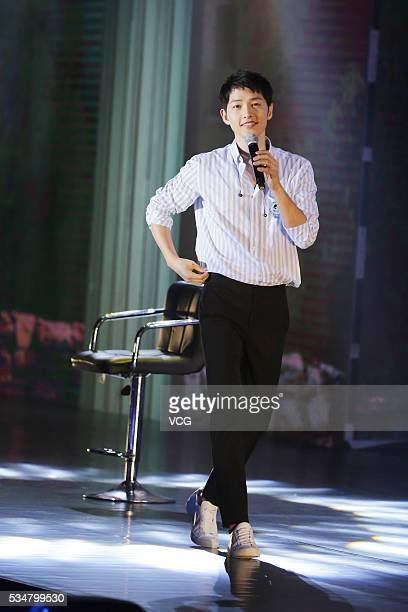 South Korea host and actor Song Joong Ki attends a fan meeting as part of his Fan Meeting Asian Tour on May 27 2016 in Guangzhou Guangdong Province...